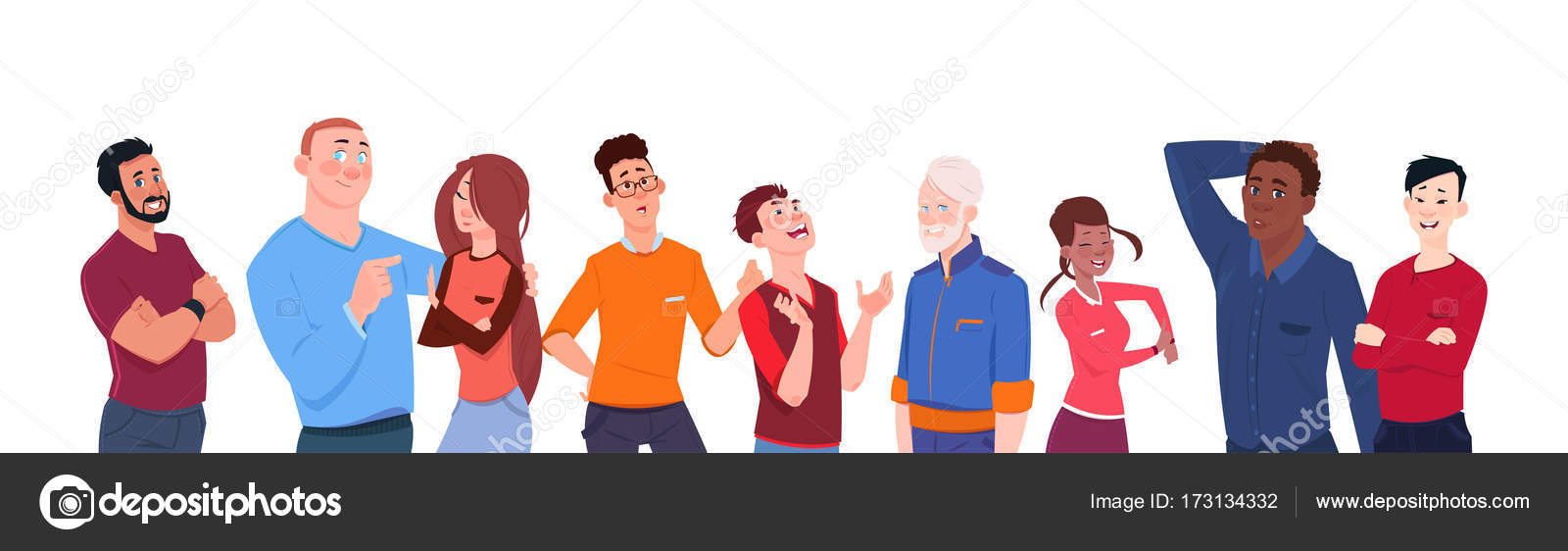 Grupo De Dibujos Animados De Carrera De Mezcla Personas De