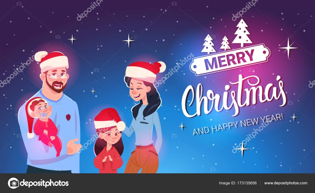 happy family wearing santa hats merry christmas and new year greeting card family celebration stock
