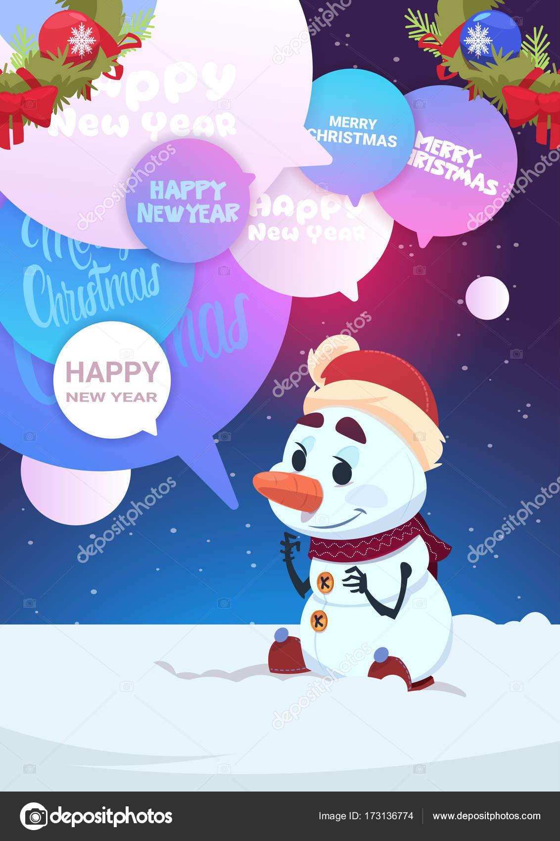 Messaggio Di Buon Natale Simpatico.Simpatico Pupazzo Di Neve Saluto Con Buon Natale E Felice Anno Nuovo