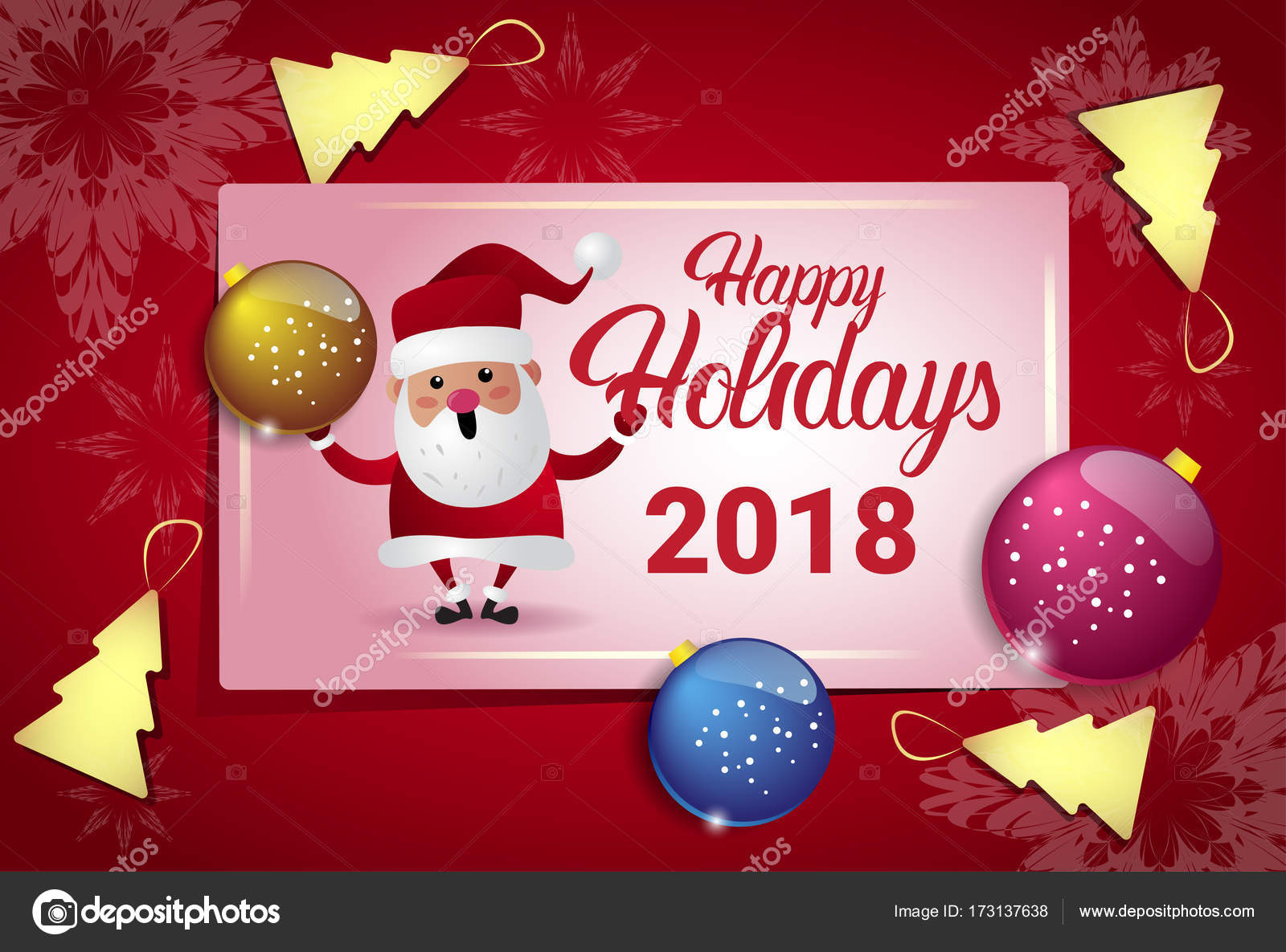happy holidays 2018 poster wth santa and christmas tree balls new year card concept stock