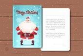 Merry Christmas Card Design Santa Claus képpel és a tér Fot szöveg fa textúra a háttérhez képest