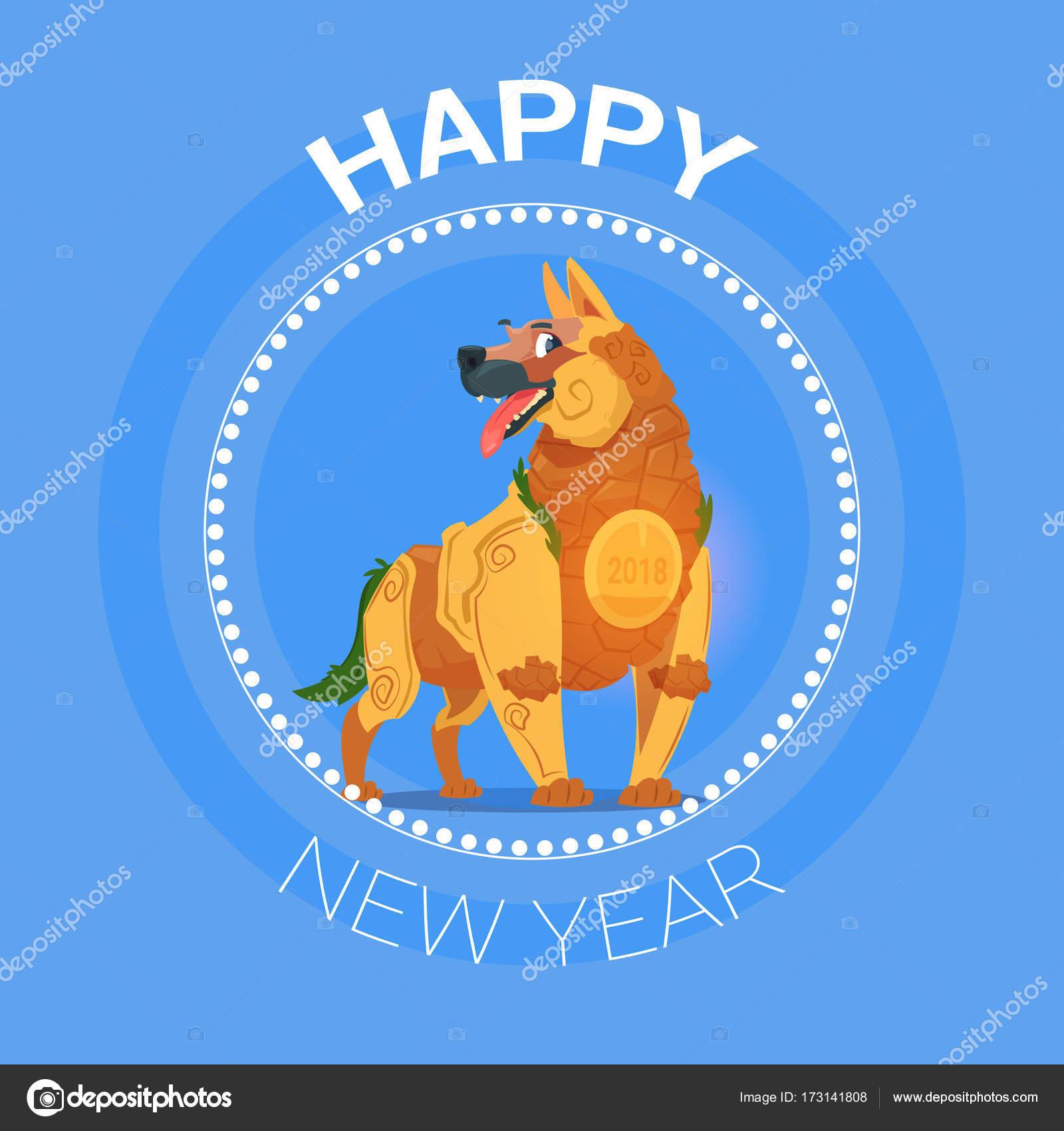 Frohes neues Jahr Hund Icon asiatische Konzept 2018 Kalendersymbol ...