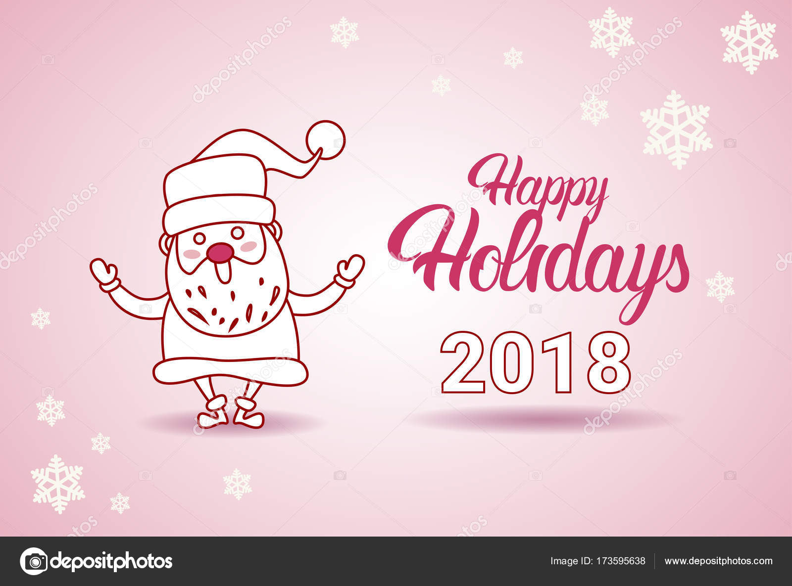 Happy Holidays 2018 Banner Santa On Christmas And New Year Greeting