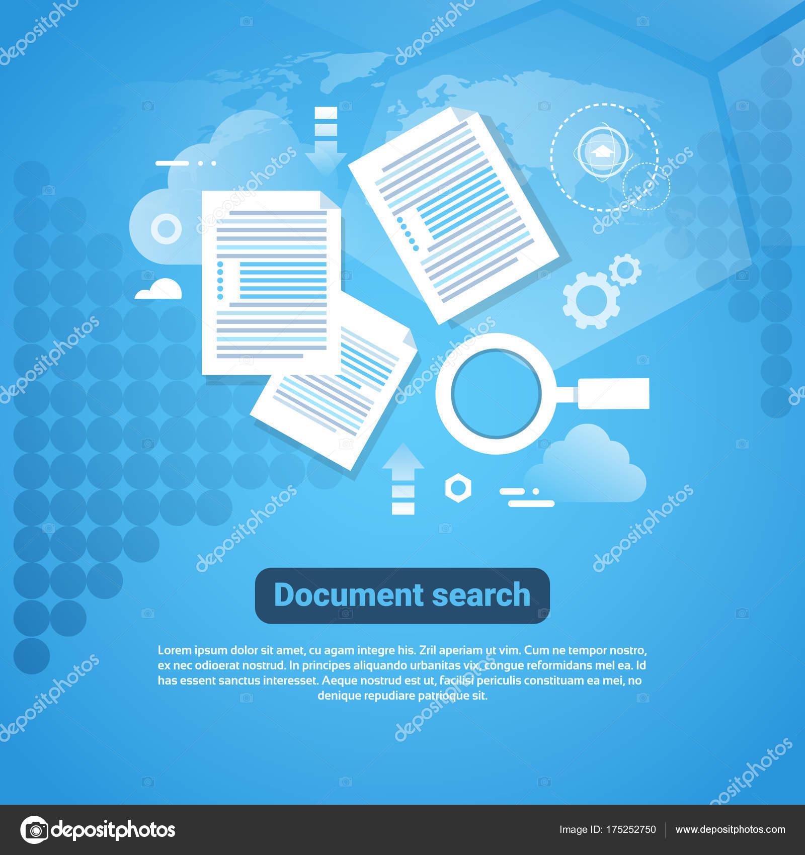 Plantilla Web Banner con concepto de búsqueda de documento de ...