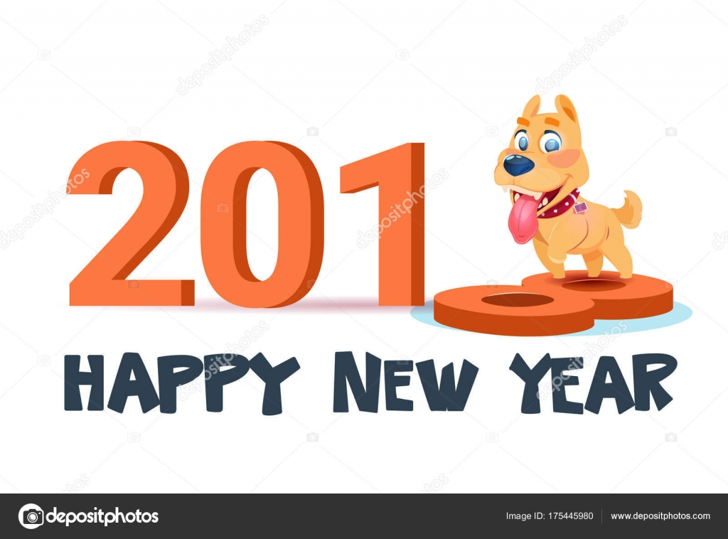 Happy New Year 2018 Poster With Cute Dog On White Background Stock