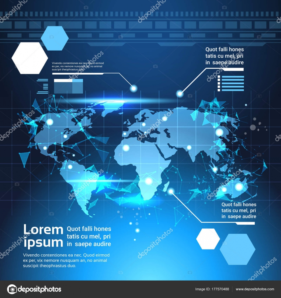 World Map Download For Computer. World Map Background  Set Of Computer Futuristic Infographic Elements Tech Template Charts And Graph
