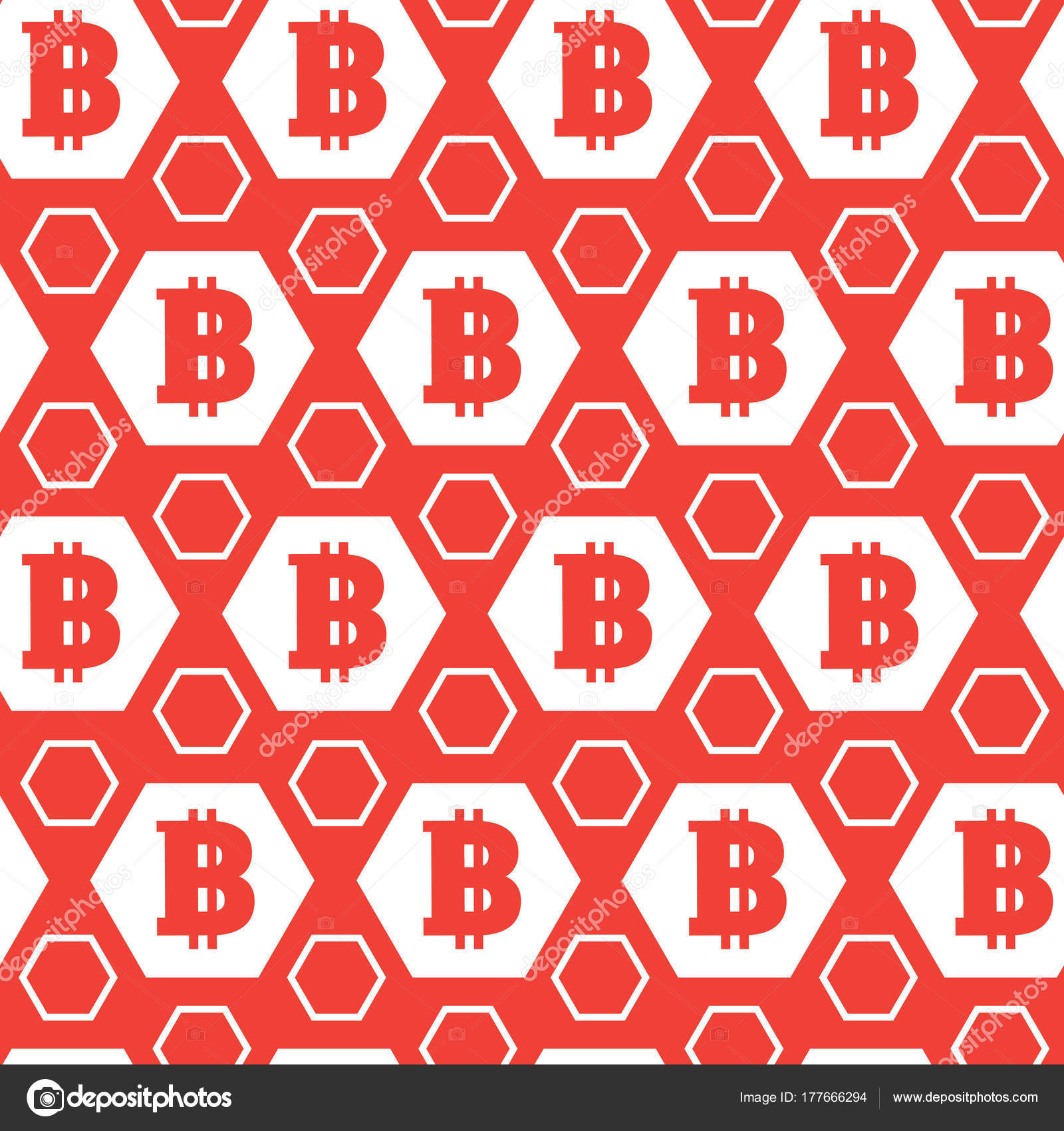Simple Seamless Pattern Bitcoins Signs Red Background Digital