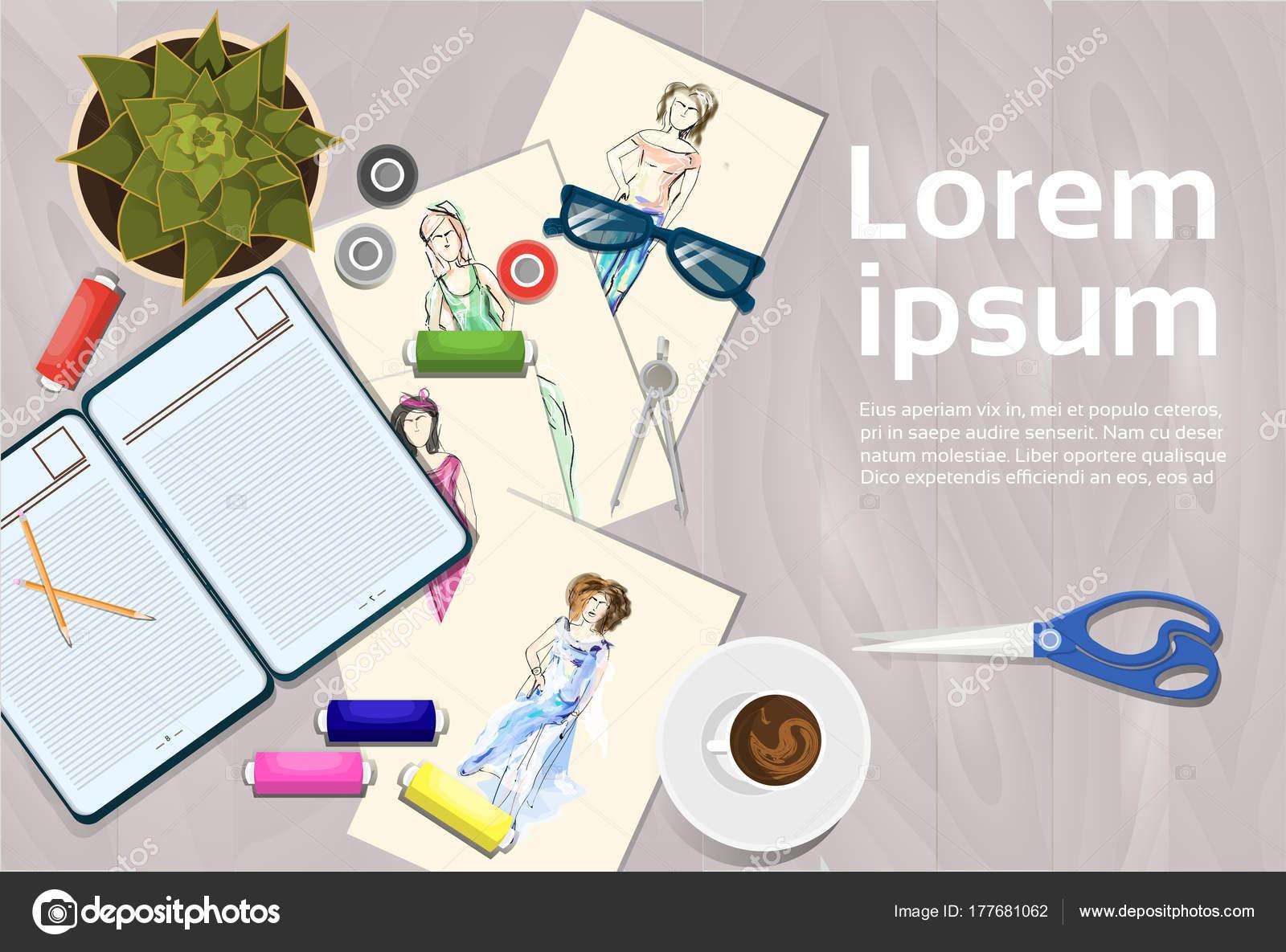 Kleidung-Skizzen auf Mode-Designer arbeiten Tabelle oberen Winkel ...