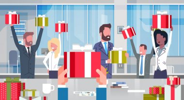 Workers Bonus Concept Cheerful Business People Team Holding Red Gift Boxes In Modern Office Happy Group Of Successful Businesspeople With Raised Hands