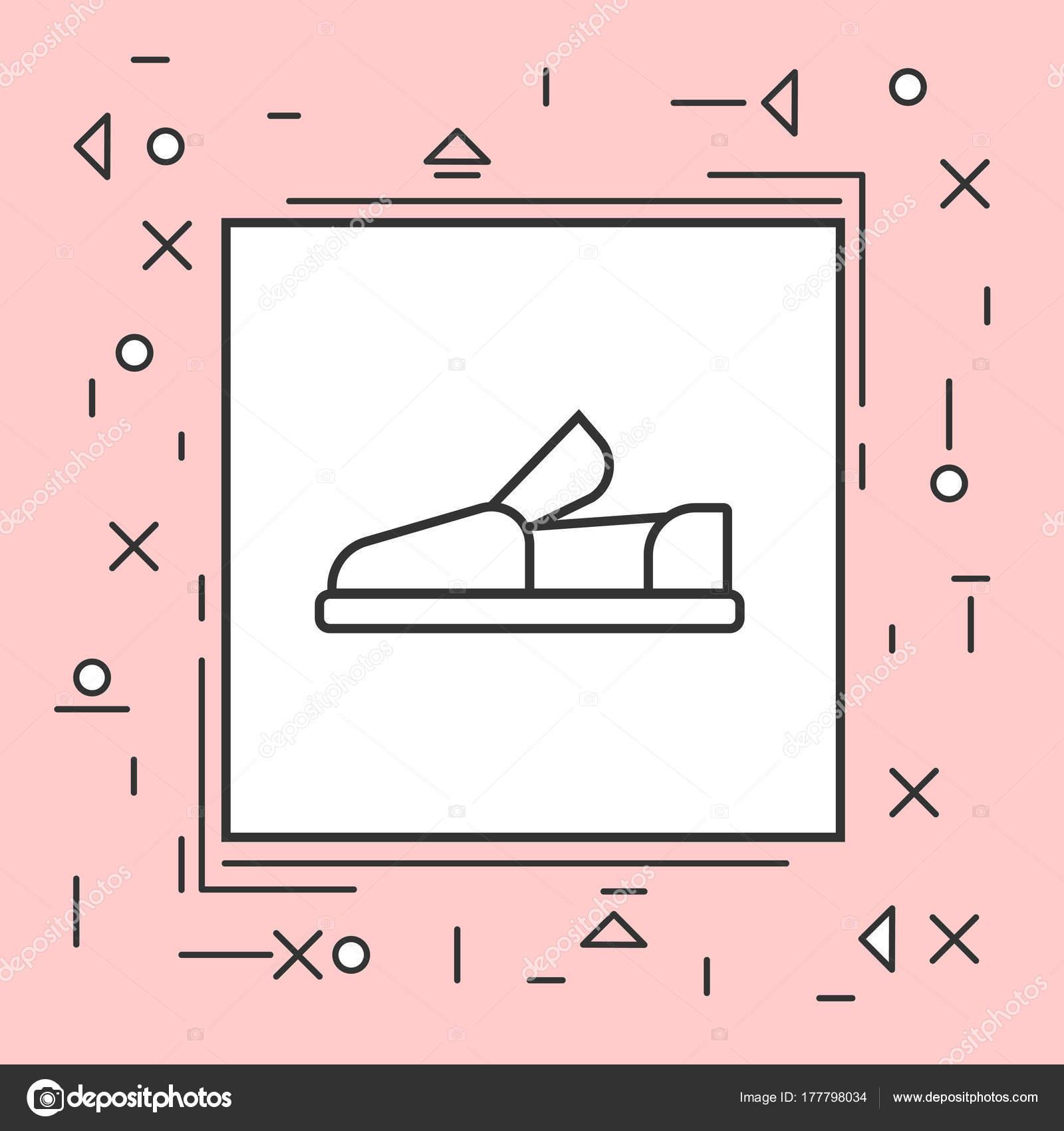 Mokassin Schuhe Symbol dünne Linie In Rosa Rahmen — Stockvektor ...