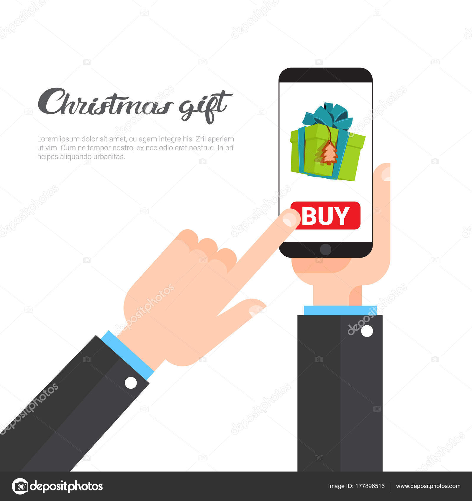 Christmas Gifts Shopping Concept Hand Holding Smart Phone Buying ...