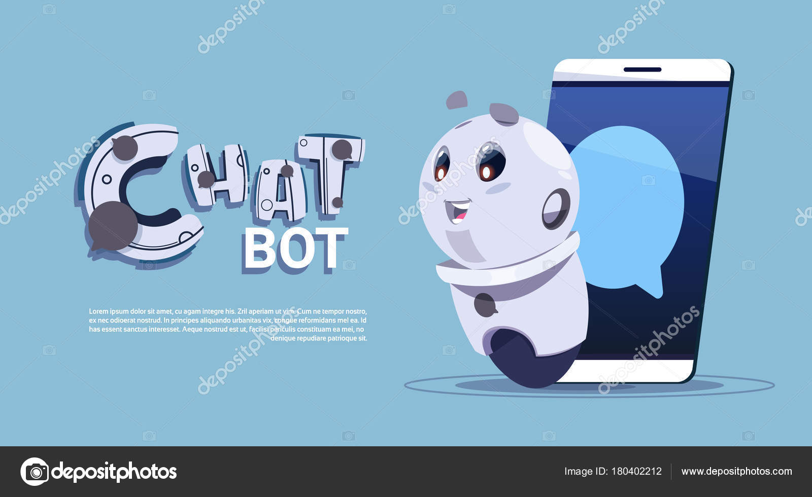 Chat Bot In Smart Phone Cute Robot Template Banner With Copy Space