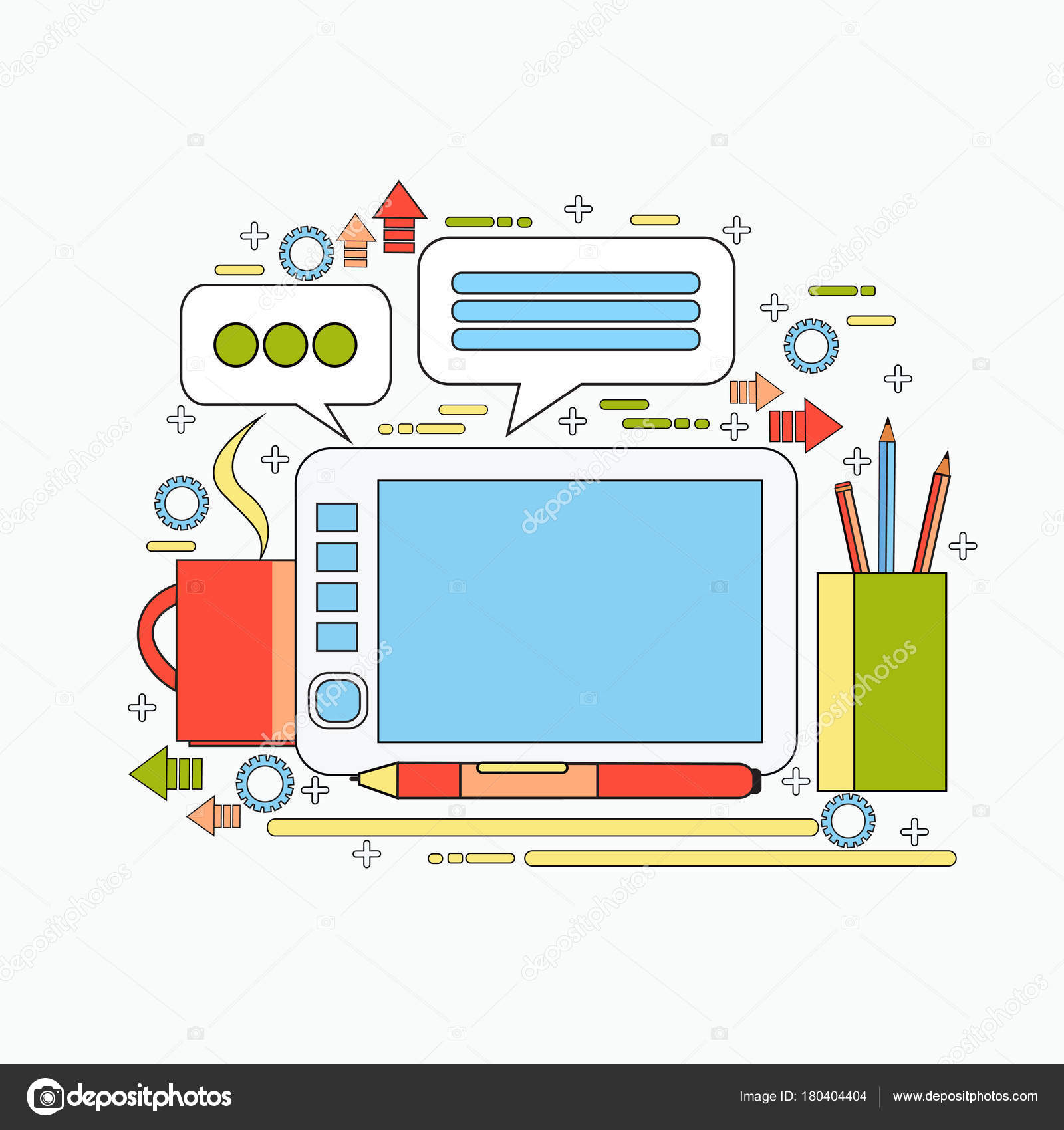 Graphic Designer Tool On Workplace Digital Tablet with Drawing Pen ...