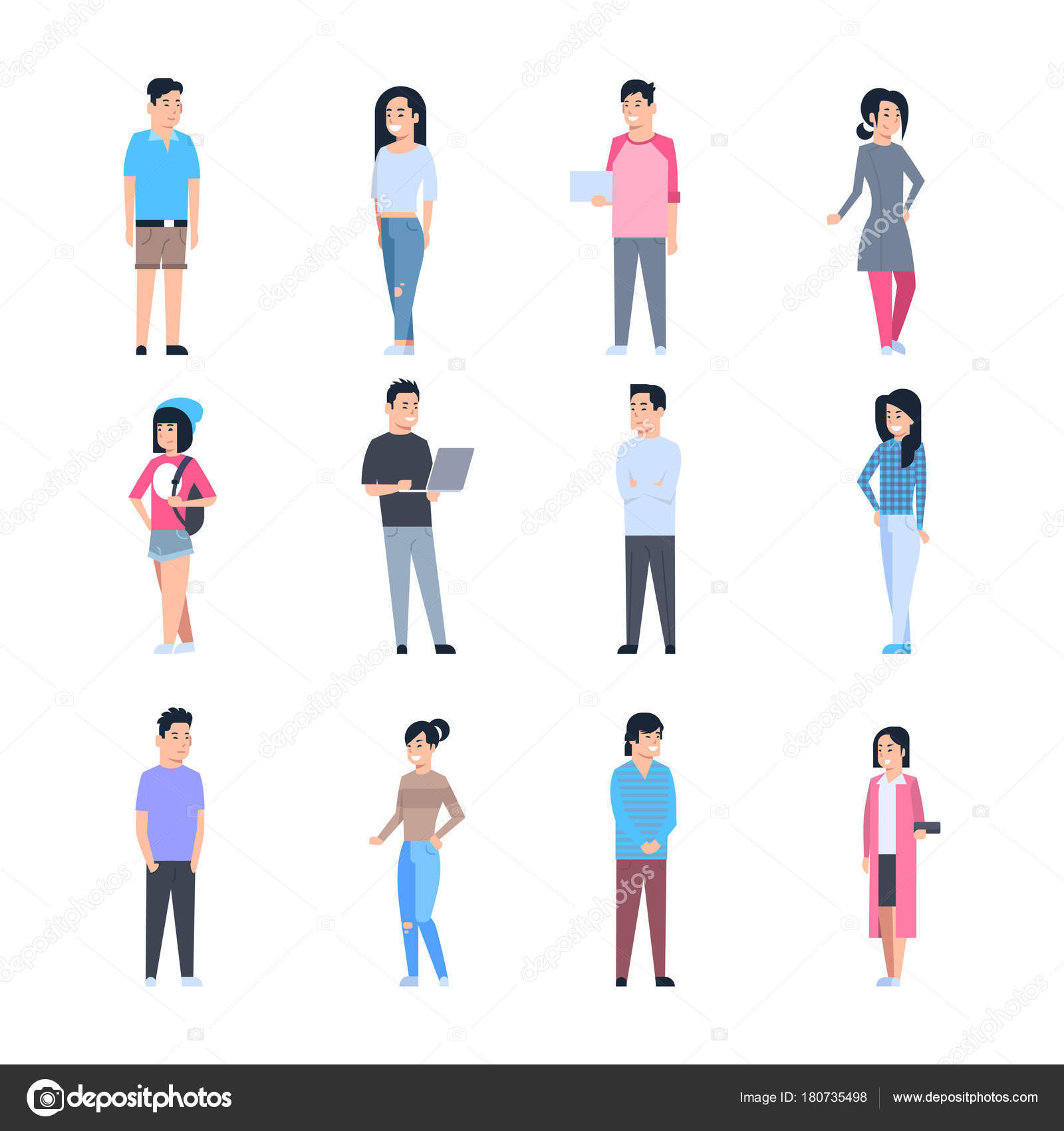 f462776f1 Iconos de mujeres y hombres asiáticos jóvenes establecen a personas ...