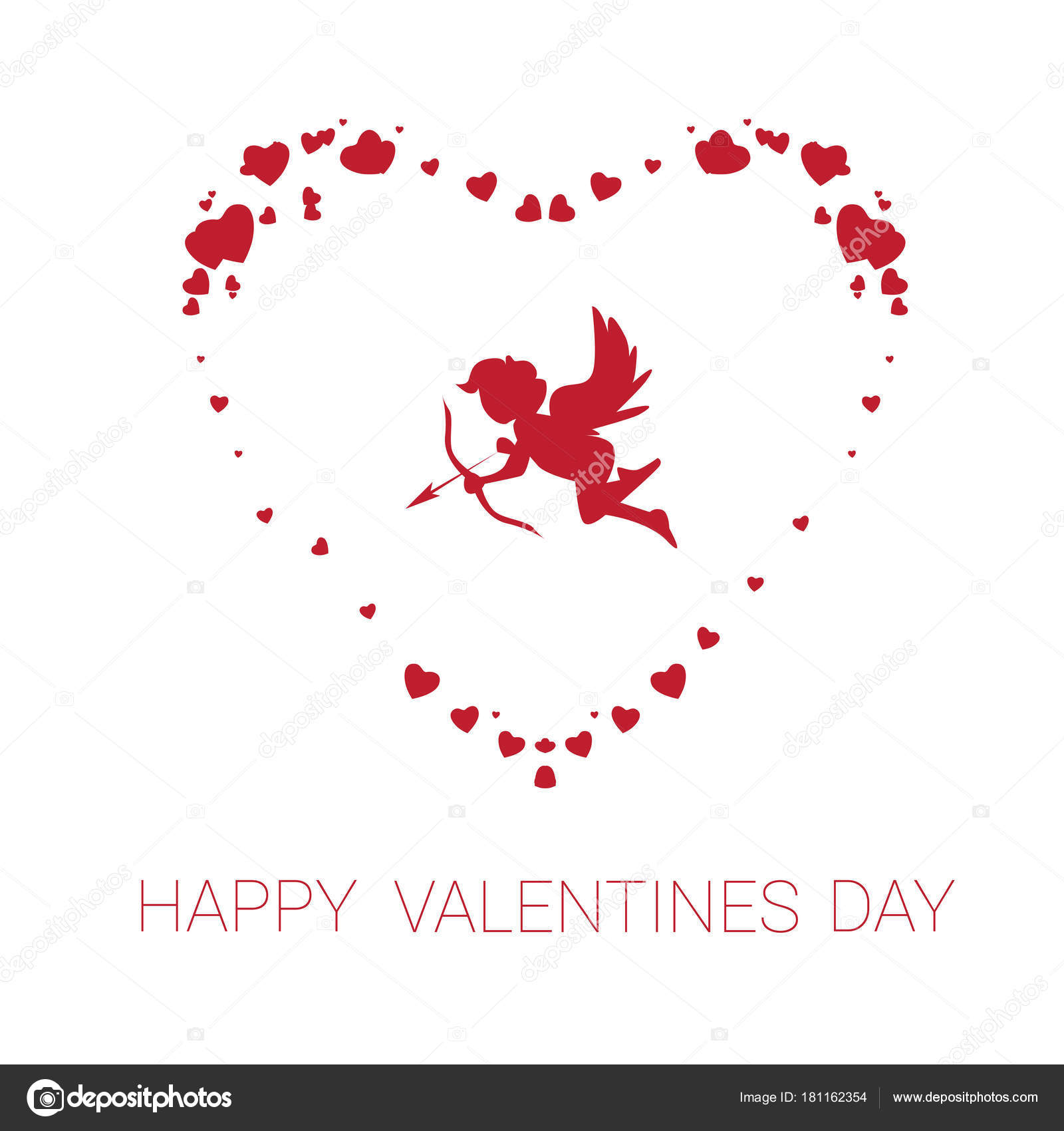 Happy Valentine Day Greeting Card Cute Cupid In Heart Shape