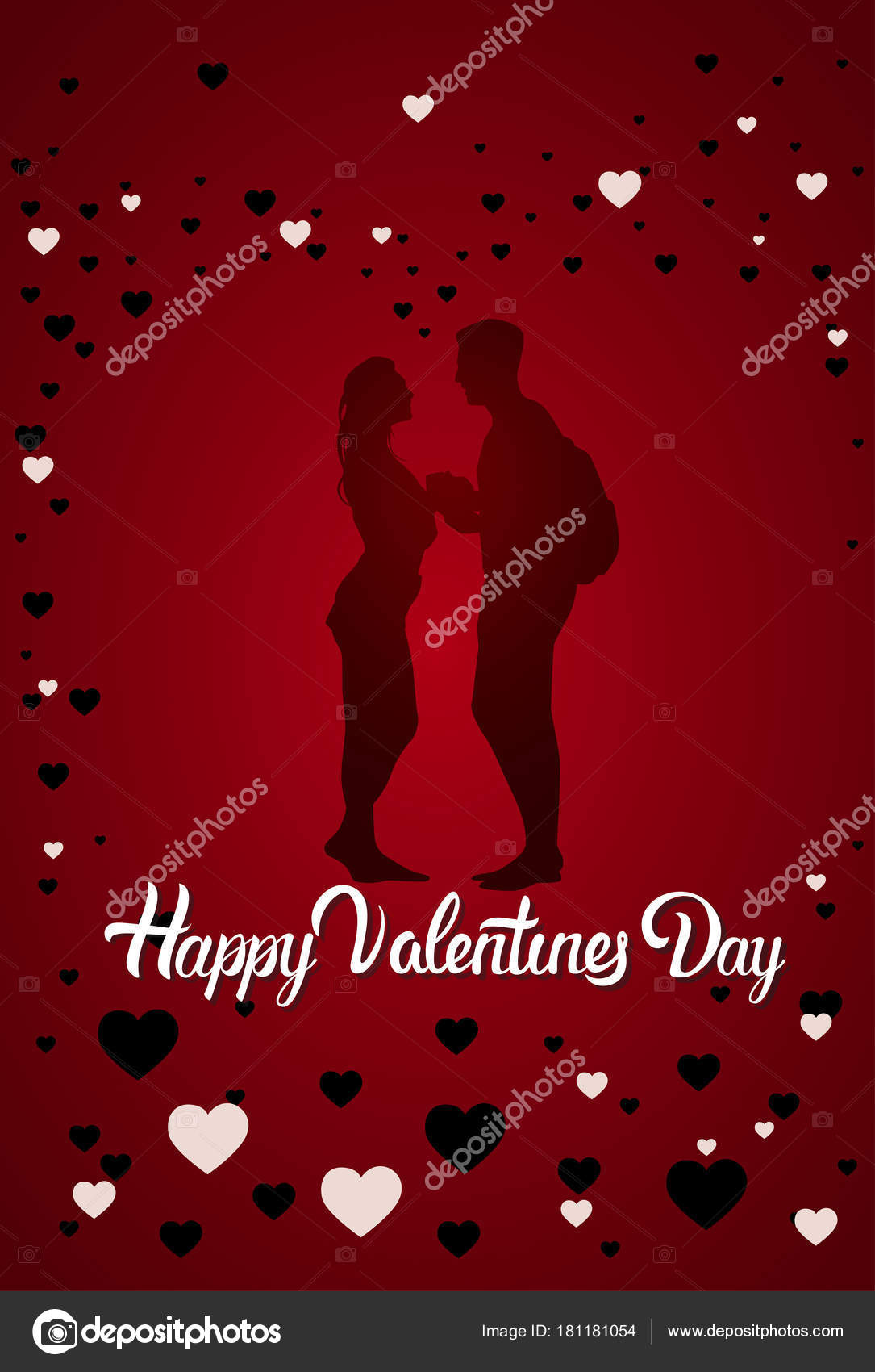 Couple silhouette happy valentine day greeting card background couple silhouette happy valentine day greeting card background flat vector illustration vector by mast3r kristyandbryce Image collections