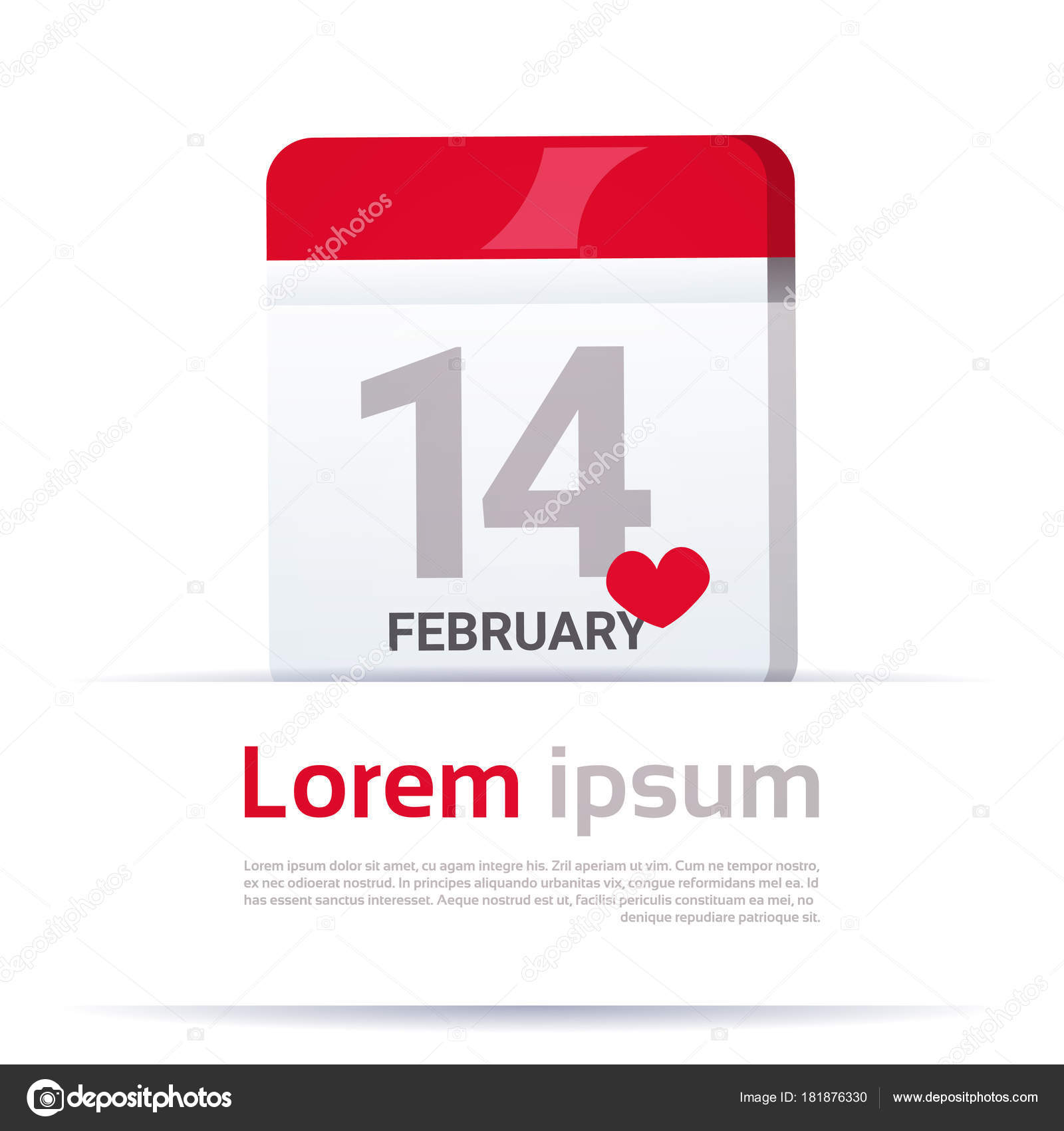 Calendar Page With 14 February Date Happy Valentine Day Tempplate