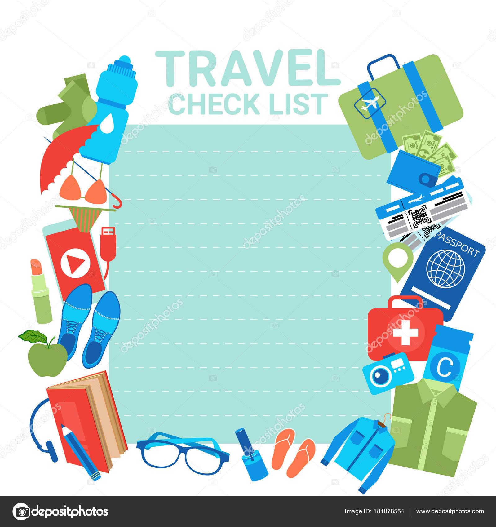 包装用チェックリスト チェック リスト テンプレート背景を旅行休暇の