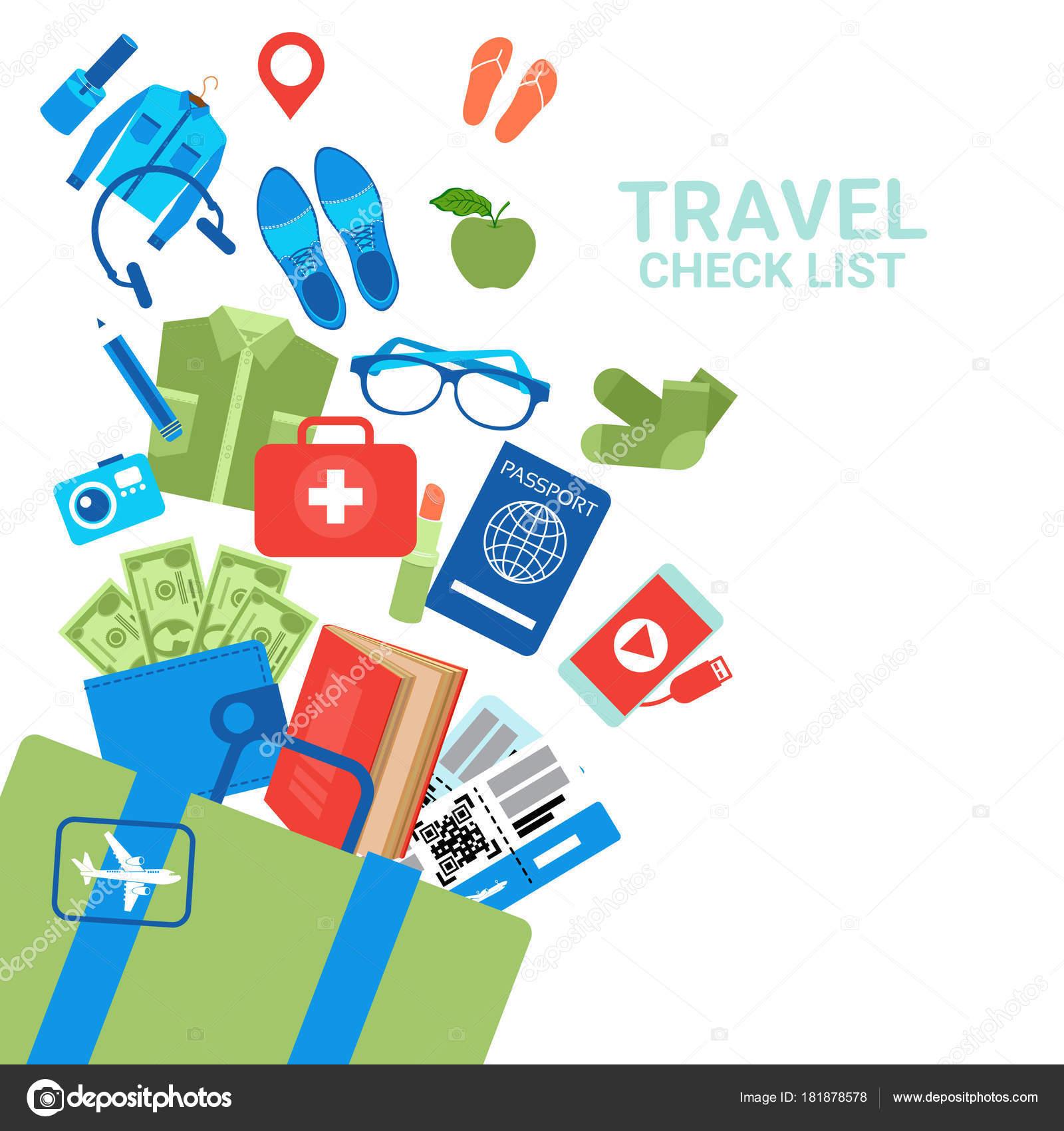 旅行企画白い荷物チェック リスト背景荷物アイコン ストックベクター