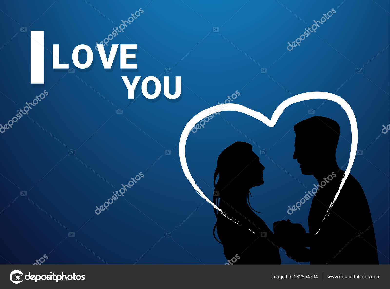 I Love You Greeting Card With Couple Silhouettes Holding Hands In