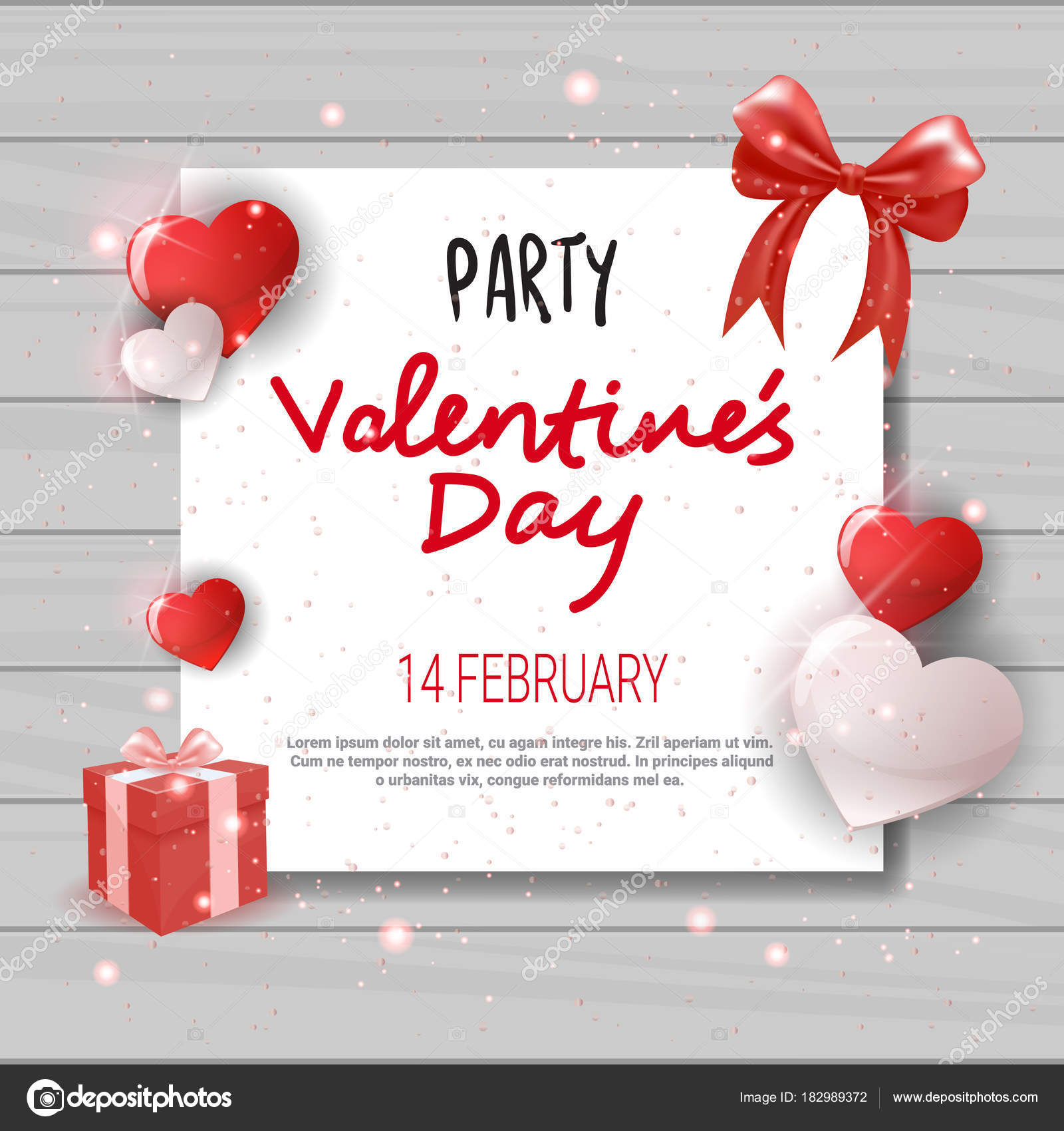 Valentines Day Party Invitation Template Flyer Design Love Holiday