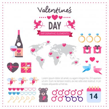 Valentines Day Infographic Banner Set Of Icons Over Template Pink Background