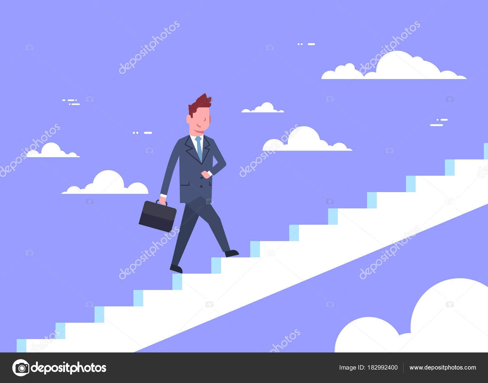 Hombre de negocios caminar escaleras arriba el concepto de ...
