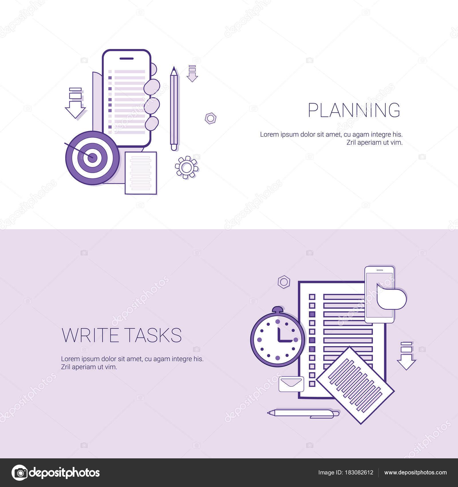 Sistema de planificación y tareas de escritura Banners negocios ...