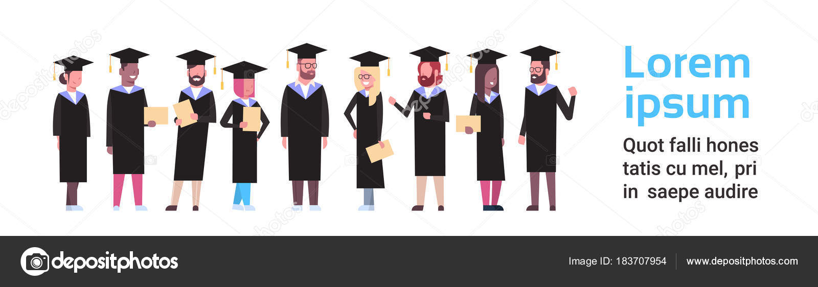 Group Of Diverse Students In Graduation Cap And Gown Hold Diploma ...