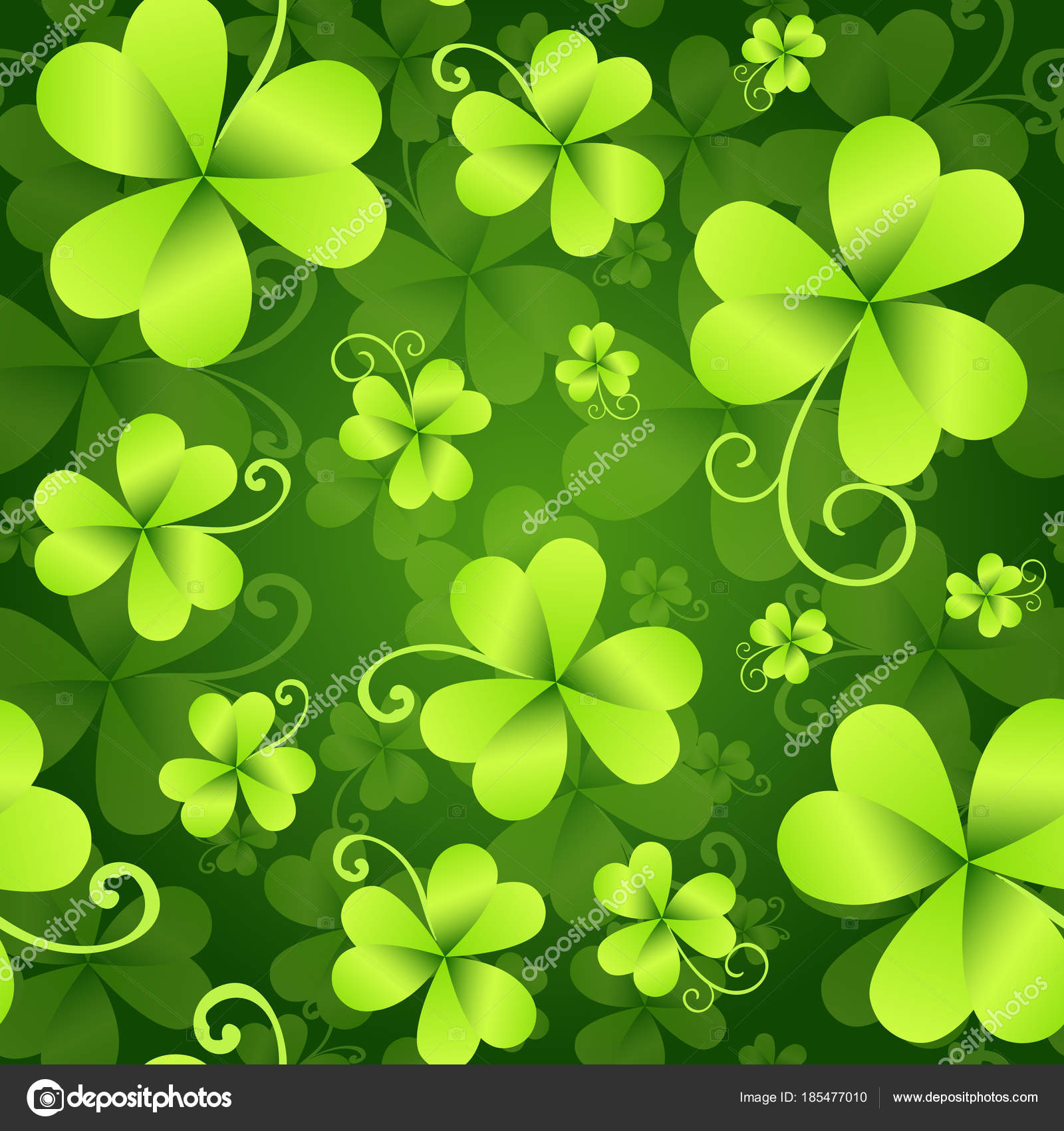 Clover leaves seamless pattern st patricks day green background clover leaves seamless pattern st patricks day green background shamrock wallpaper vector illustration vector by mast3r voltagebd Image collections