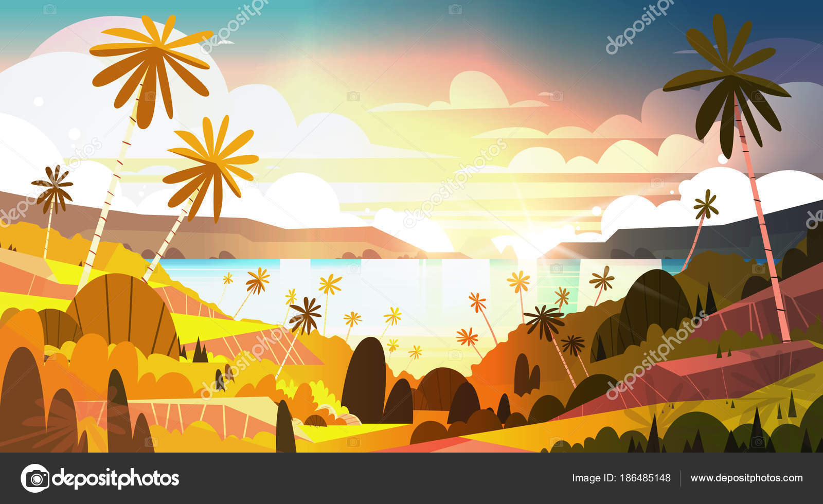 Sunset On Tropical Beach Beautiful Landscape Summer Seaside With Palm Trees Poster Stock Vector