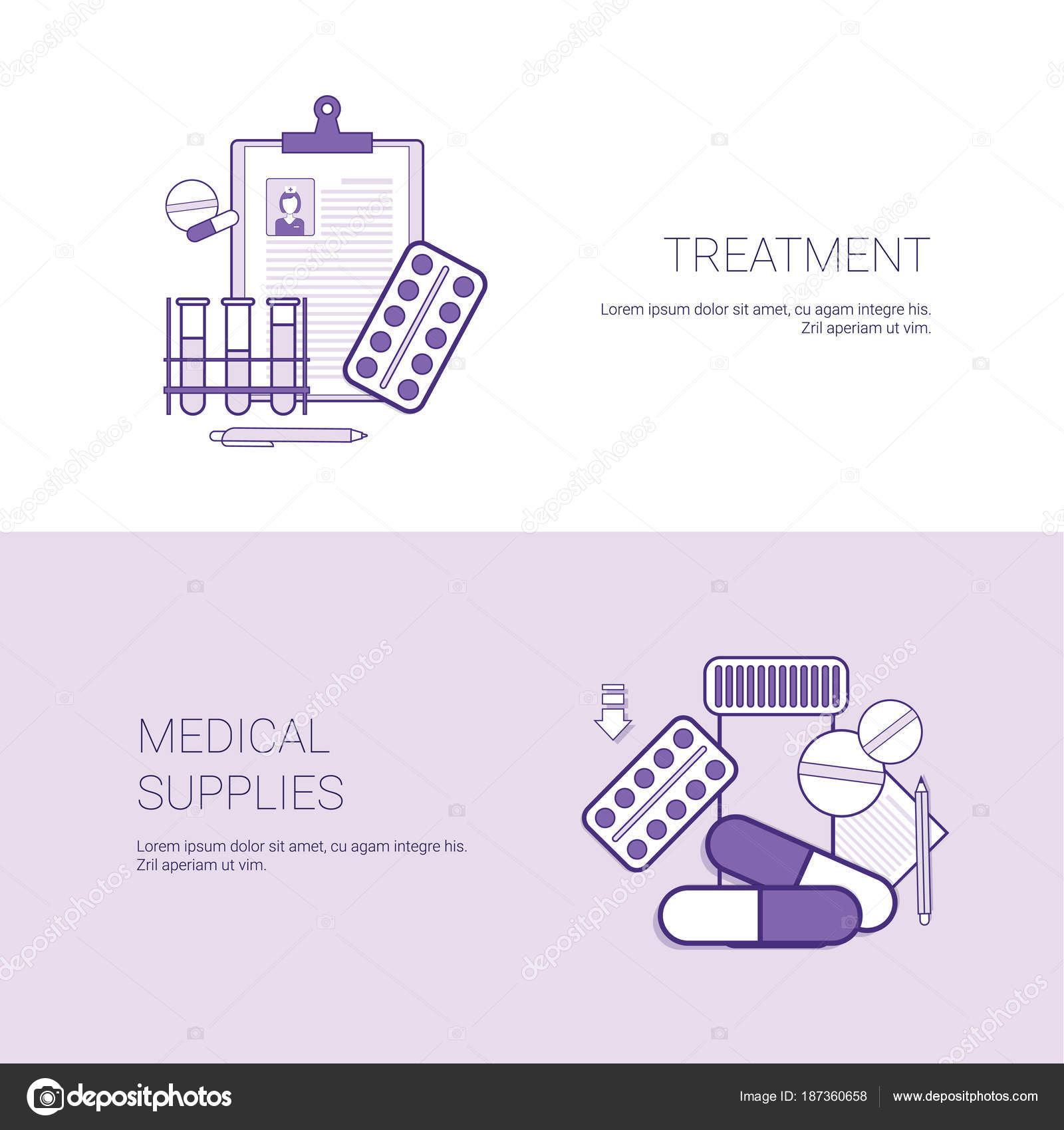 Tratamiento y suministros médicos concepto plantilla Web Banner con ...