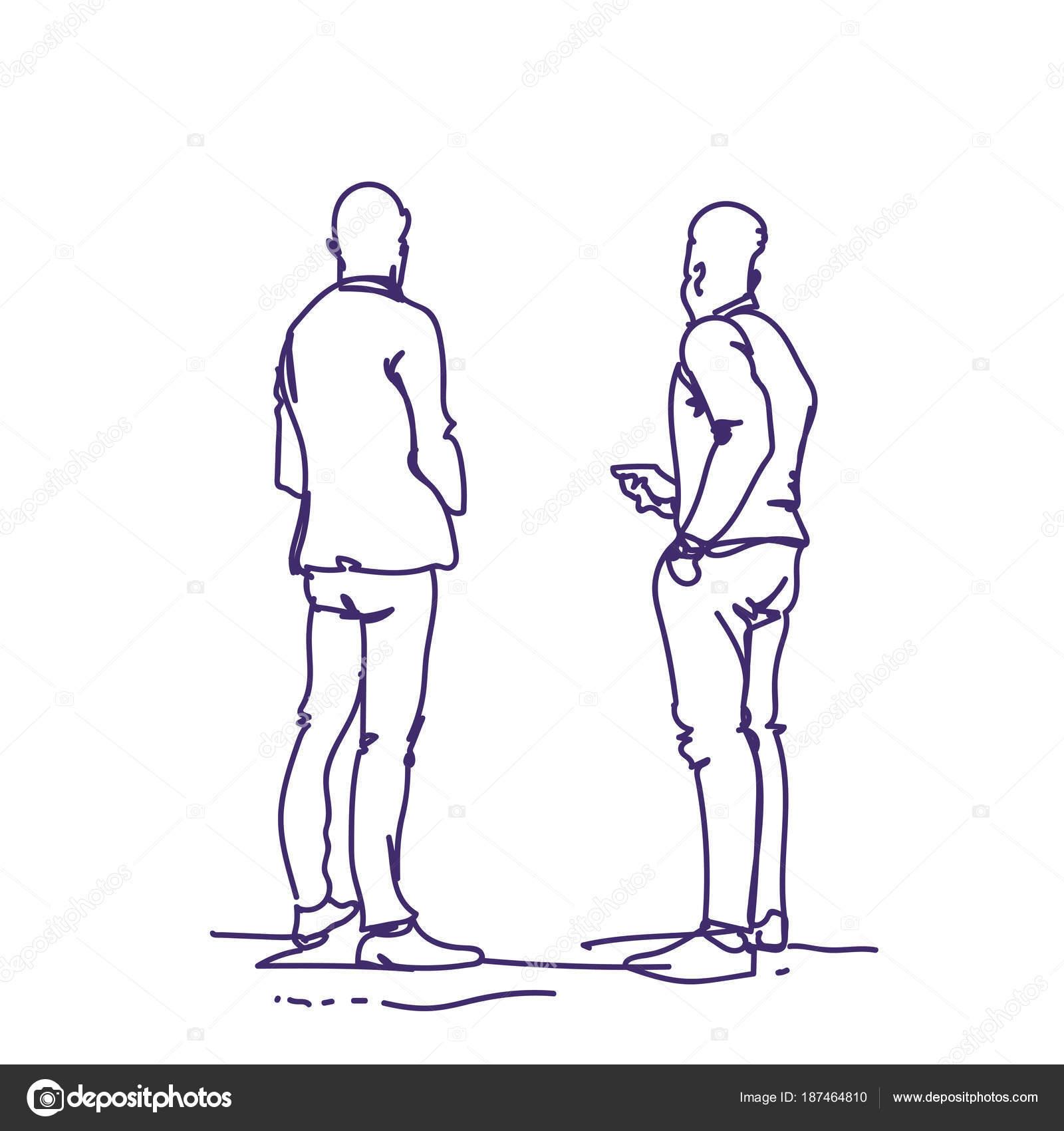 Deux Homme Debout Sketch Dos Gens Holding Smart Phones Parlant