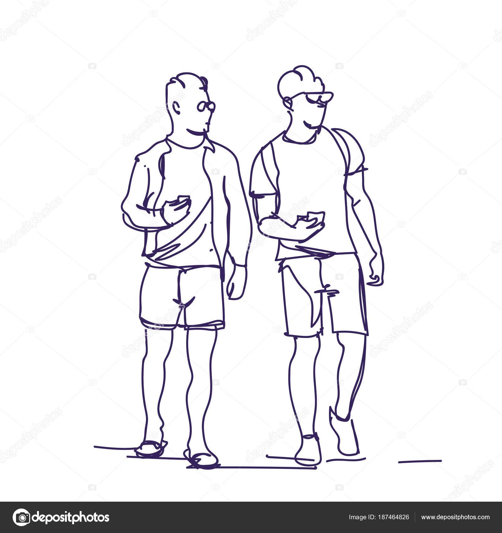 Imágenes Dos Hombres Hablando Dibujo Dos Hombre Pie