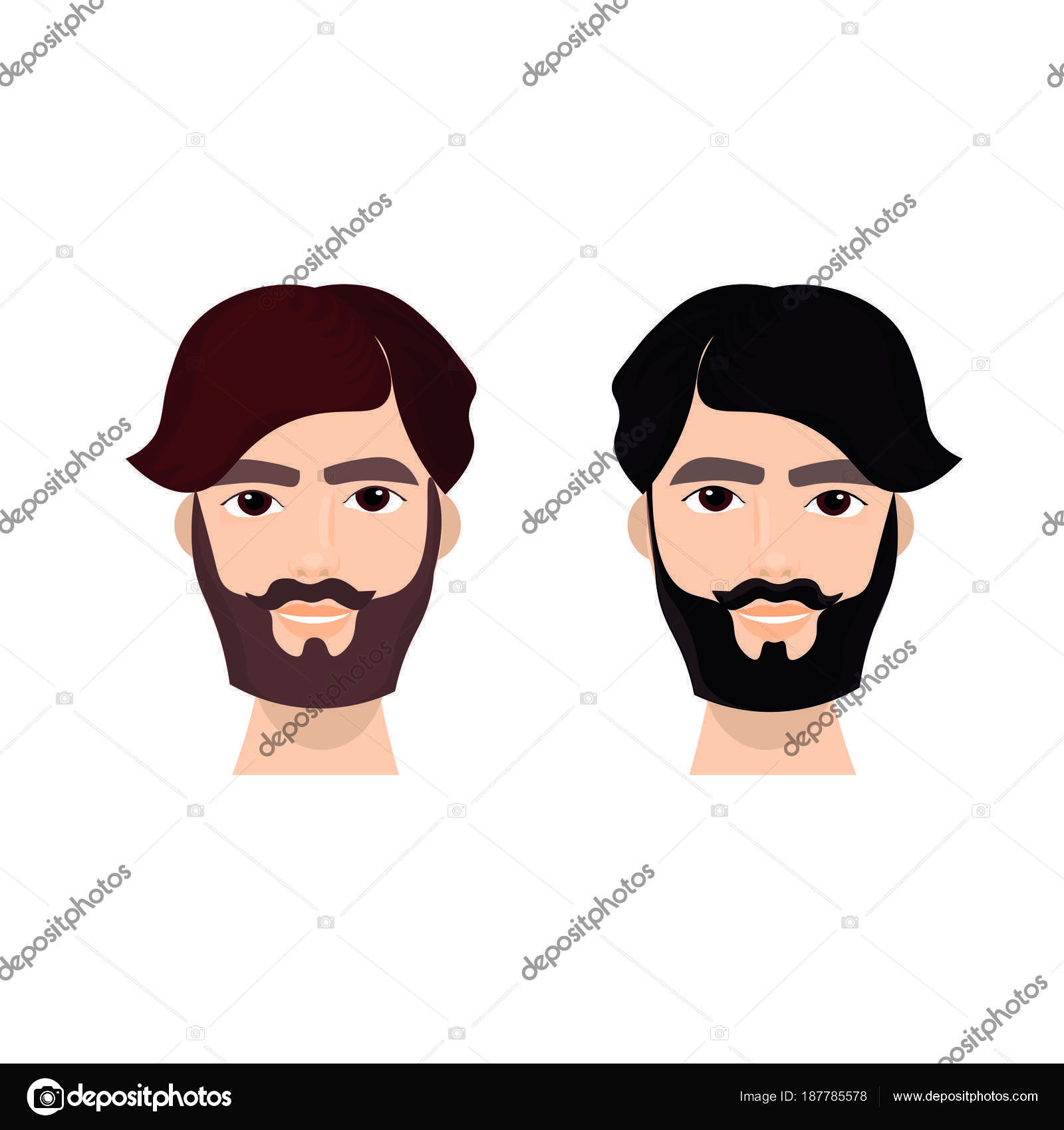 Bearded Man Face With Stylish Hairstyle Guy Hipster Isolated Icon