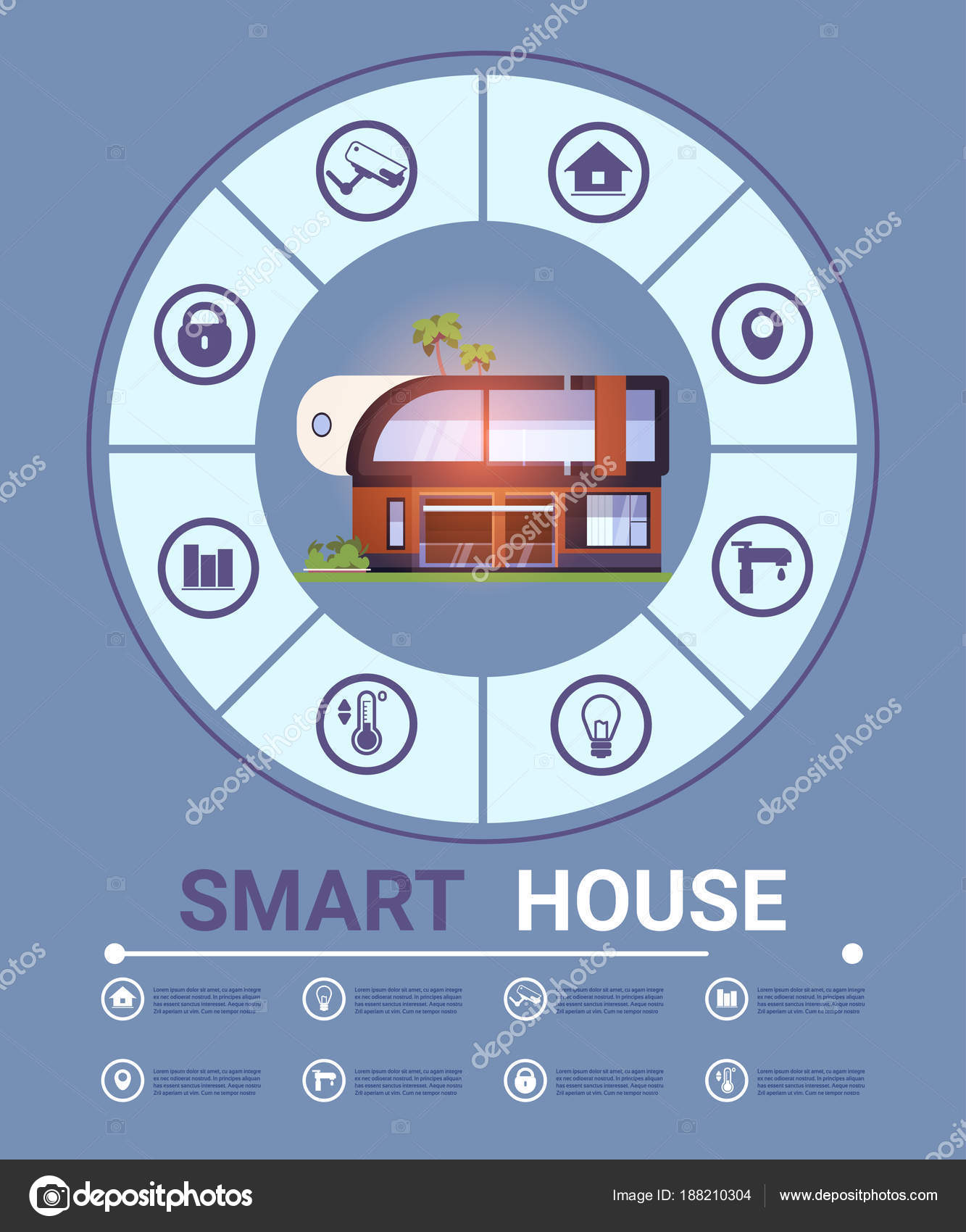 Smart Home Infographic Elements Banner Modern Technology System Of on