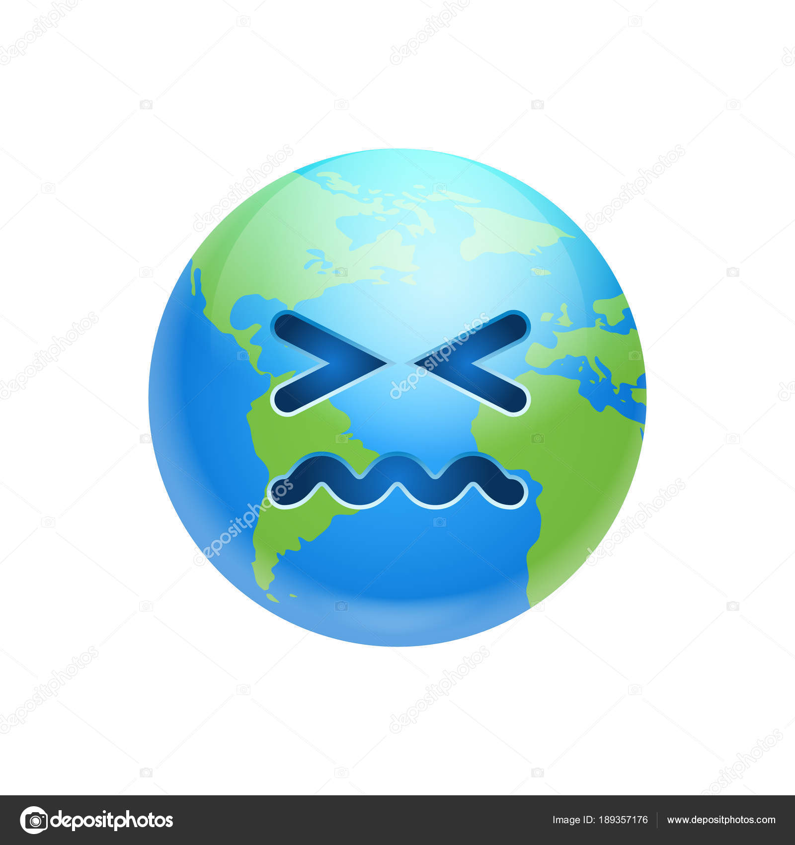 Cartoon Earth Face Sad Emotion Icon Funny Planet Depressed ...