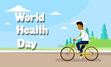 Man Riding Bike Over World Health Day Banner Background
