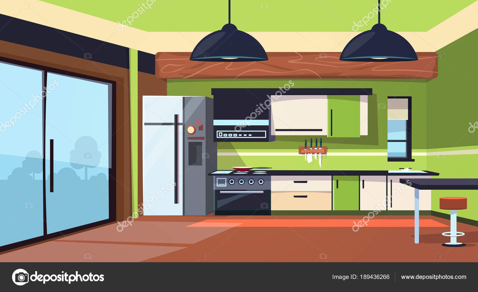 Interieur van de moderne keuken met fornuis koelkast en keuken