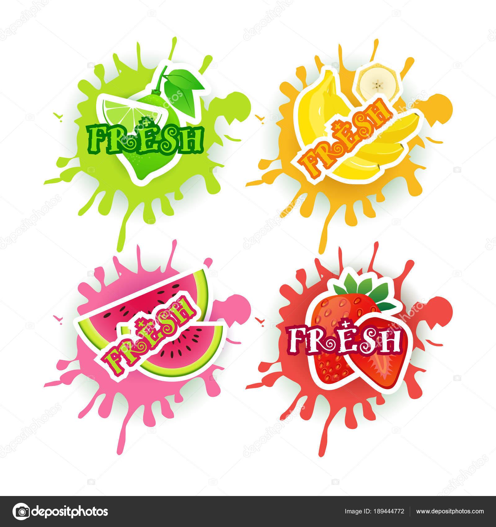 Taze Meyve Suyu Logo Meyve Boya Splash Arka Plan Doğal Gıda Tarım