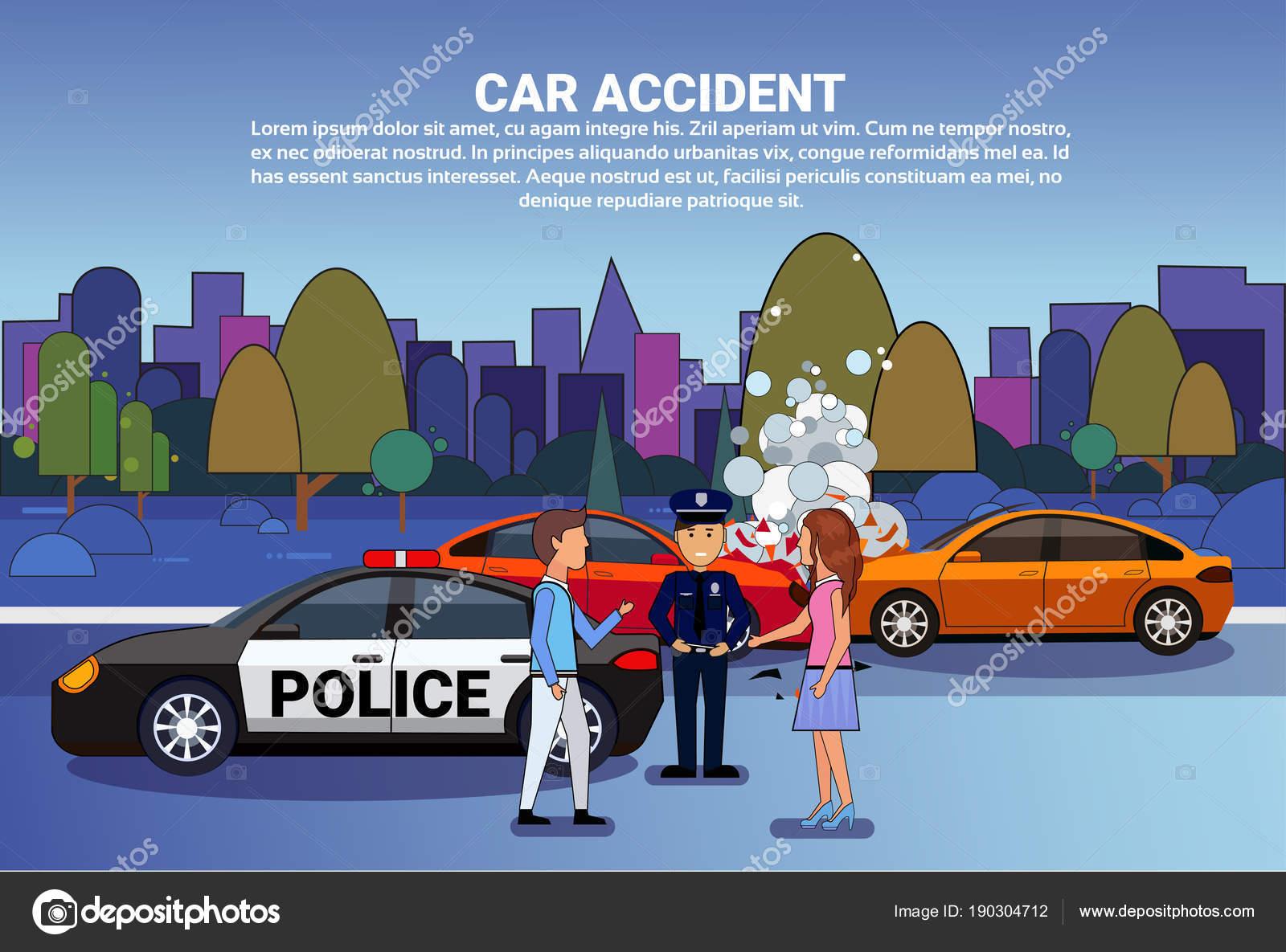 Autounfall auf Road Fahrer mit der Polizei stand über defekte ...