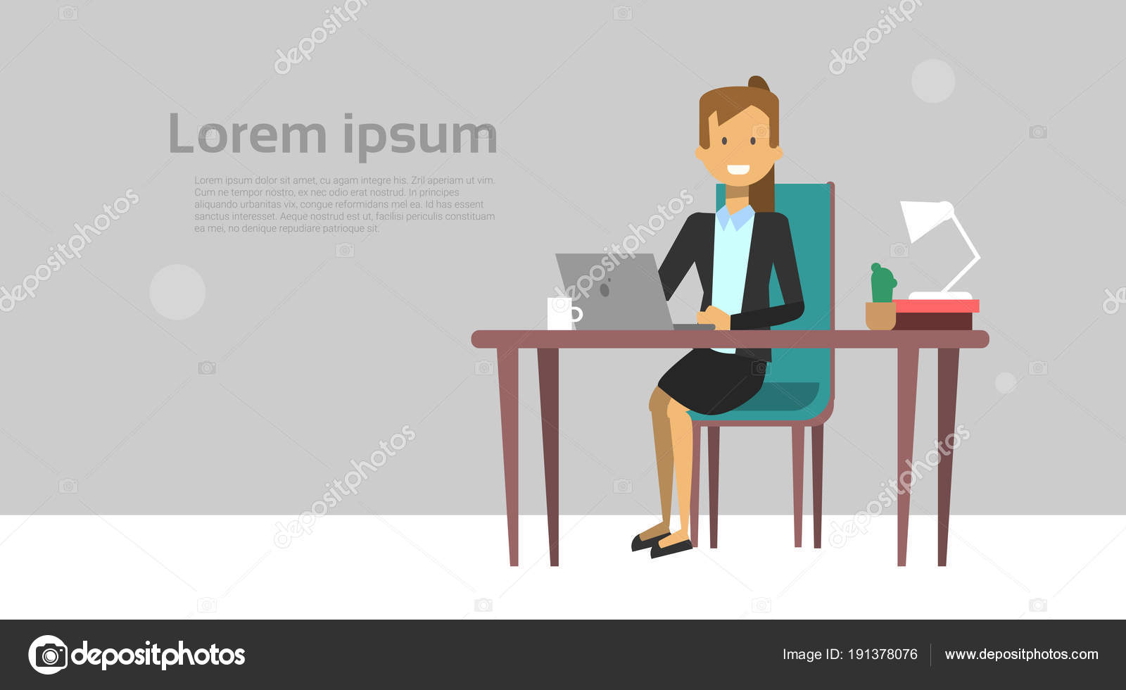 Modern Business Woman Working On Laptop Computer Sit At ...