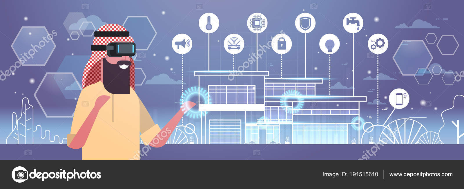 Arab Business Man Wearing 3d Glasses Virtual Reality Headset Over. Arab Business Man Wearing 3d Glasses Virtual Reality Headset Over Smart House Background Flat Vector Illustration By Mast3r. Wiring. A Diagram Of A House Arabic At Scoala.co