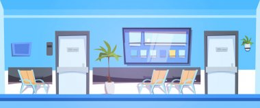 Hospital Waiting Room With Empty Seats Interior Clinic Hall Background Banner