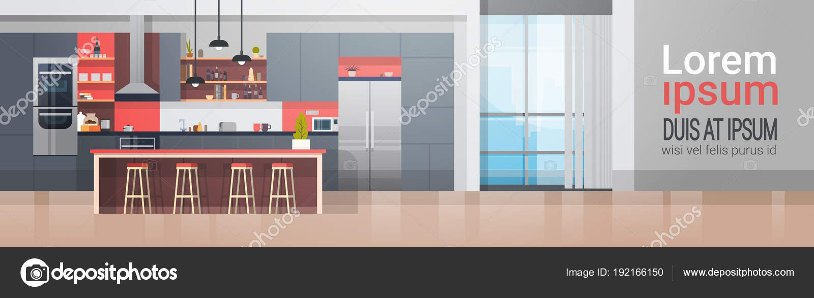 Kitchen Room Interior With Modern Furniture Counter And Appliances