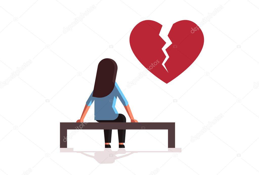 Unhappy Sad Woman In Depression Having Relationship Problem Life Crisis Break Up Divorce Concept Girl With Broken Heart Sitting Wooden Bench Flat Full Length Horizontal Vector Illustration Premium Vector In Adobe