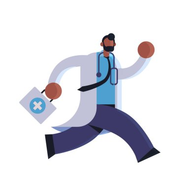 male doctor with first aid kit running to help medicine healthcare ambulance concept african american medical clinic worker with stethoscope in white coat full length flat