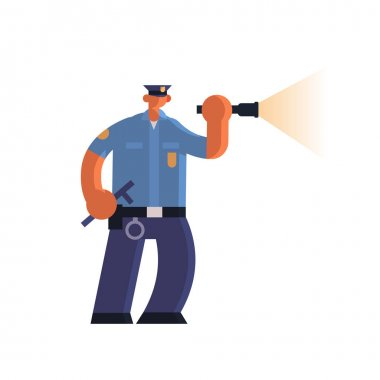 police officer using flashlight policeman in uniform holding stick security authority justice law service concept flat full length