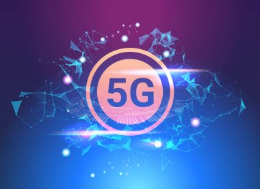 5G hologram digital wireless systems connection global network concept fifth innovative generation of high speed internet abstract technology background horizontal banner vector illustration