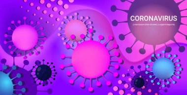 Coronavirus cell danger public health risk disease epidemic MERS-CoV flu spreading floating influenza virus cells quarantine wuhan nCoV bacteria horizontal copy space vector illustration stock vector